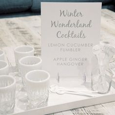 Warm up your special event with one of our winter wonderland cocktail signs !  #winter #wedding #cocktails #sign #etsyweddings #etsy #weddingsign #weddingmenu #cocktailmenu #chicweddingsbyjamieirene #weddingsbyjamie #weddingdesign