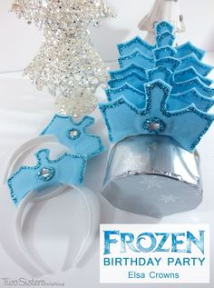 Disney Frozen Elsa Crowns -These DIY Elsa Crowns are easy to make and are a great party favor for the girls at your Disney Frozen Birthday Party. For more great Frozen Party Ideas follow us at http://www.pinterest.com/2SistersCraft/