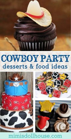 Party Supply WESTERN COWBOY HATS /& BOOTS PICKS Food Cupcakes Hors D/'oeuvres