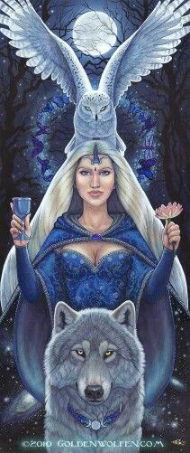 The Chalice, Lotus, Owl and the Wolf...the Chalice and the Lotus are both ancient symbols for a woman's body, feminine knowlege and power. The Wolf represents strength, the wild aspect of the feminine/masculine divine. The Owl, one of the oldest symbols known in many cultures for wisdom, represents dreams, shapeshifting, moon magick and the ability to unmask those who would decieve you.