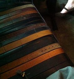 seat made from old leather belts