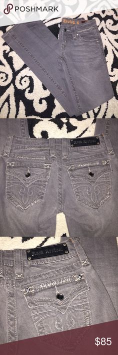 """SALE!!! Rock Revival skinny jeans These are almost new. Gray in color- lots of details, inseam is 31"""". Rock Revival Jeans Skinny"""