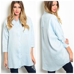 NEWDENIM BLUE BOYFRIEND TOP This relaxed comfy top is boyfriend cut and button up with 3/4 sleeves. 70% linen 30% cotton. Small measures: L35 B34 W26.  S - 3 M - 2 L - 1 Please comment size needed below.  PLEASE DO NOT BUY THIS LISTING. Allow me to make your separate listing for you or help you make a bundle ❤️.  NO PAYPAL NO TRADES. Price is firm unless bundled. Tops