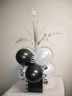 Goodtimes Party Supplies - Black and White Table Centrepiece (Powered by CubeCart) Balloon Centerpieces, Balloon Decorations, Birthday Decorations, Masquerade Centerpieces, Reunion Decorations, Birthday Centerpieces, Centerpiece Ideas, Wedding Centerpieces, Table Decorations