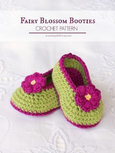 Hopeful Honey | Craft, Crochet, Create: Fairy Blossom Baby Booties - Free Crochet Pattern ✿⊱╮Teresa Restegui http://www.pinterest.com/teretegui/✿⊱╮