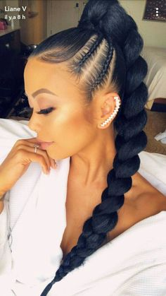 47 Best African Fishtail Braids Hairstyle 2019 For Black Hair - - 47 Best African Fishtail Braids Hairstyle 2019 For Black Hair Beleza 47 Best African Fishtail Braids Frisur 2019 für schwarzes Haar Hair Ponytail Styles, Black Ponytail Hairstyles, Braided Ponytail Hairstyles, Sleek Ponytail, African Braids Hairstyles, Weave Hairstyles, Fishtail Braids, Hairstyles Men, Ponytail With Braiding Hair