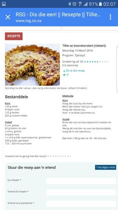 Quiche Recipes, Tart Recipes, Cookie Recipes, Savory Tart, South African Recipes, Crusts, Food Facts, Afrikaans, Savoury Dishes