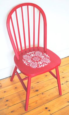 Painted chair decorated with Janpath Stencil by NicoletteTabram on Etsy UK