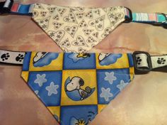 Slip on bandanas for dog collars. These can be taken off and on to be washed, or changed out for a different look.