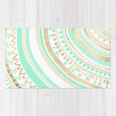 Mint + Gold Tribal Rug by Tangerine-Tane | Society6
