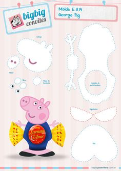 Category:E.A Archives - BigBig Convites Personalizados George Pig Party, Aniversario Peppa Pig, Cumple Peppa Pig, Finger Puppet Patterns, Boxes And Bows, Picnic Birthday, Candy Crafts, Three Little Pigs, Foam Crafts