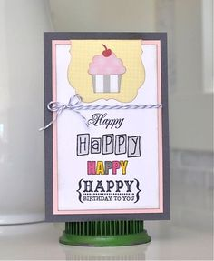 Fun + Cute + the Happy Birthday stamp set from TechniqueTuesday.com = one super card by Charlene Austin