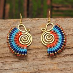 Cotton tribal earrings in blue with waxed cotton weaving and brass highlights