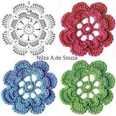 Solo esquemas y diseños de crochet: FLORES Y MAS FLORES