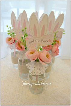 Shabby Chic Bunny Themed 1st Birthday Party with SUCH CUTE IDEAS via Kara's Party Ideas | KarasPartyIdeas.com