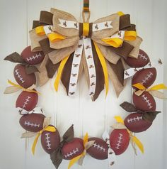 Check out this item in my Etsy shop https://www.etsy.com/listing/452551804/wyoming-cowboys-football-wreath