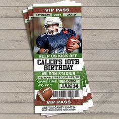 Football Ticket Birthday Party Invitations / Printed Set of 10