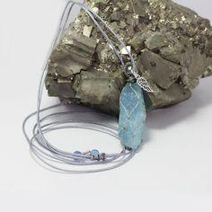 Raw Aquamarine pendant necklace, natural blue stone Aquamarine Pendant, Aquamarine Stone, Stone Necklace, Beaded Necklace, Pendant Necklace, Tumbled Stones, Stone Pendants, Necklace Lengths, Natural Stones