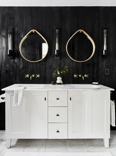 Mountain House Reveal: Our Soft Yet Secretly Sultry Downstairs Guest Bed + Bath - Emily Henderson Bathroom Colors, Double Vanity Bathroom, Bathroom Decor, Bathroom Mirror, Bathroom Sets, Mirror, Guest Bath, Bathroom Design, Emily Henderson