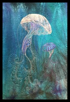 Rising Tides - Quilted Wall Hanging Pattern with Angelia Fiber Kit - Bethanne Nemesh Ocean Quilt, Beach Quilt, Fish Quilt, Organic Forms, Landscape Art Quilts, Whole Cloth Quilts, Animal Quilts, Thread Painting, Quilted Wall Hangings