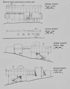 House of Glass by Lina Bo Bardi, São Paulo Architecture Concept Drawings, Pavilion Architecture, Sustainable Architecture, Residential Architecture, Contemporary Architecture, Art And Architecture, Notebook House, Diy House Projects, How To Plan
