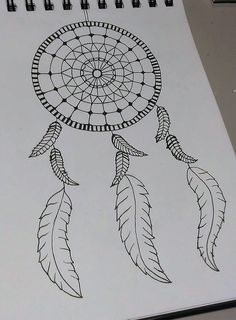 Zentangle drawing? ~ Dream catcher ❤ Not sure if u can call this Zentangle...Very simple and quick drawing. ~ Mathilde Jakobsen ❤