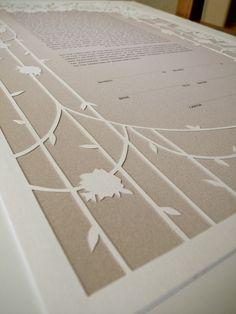 Papercut Ketubah - Peony Frame