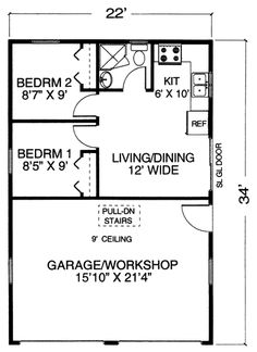 Garage Plans Plan With Apartment And Work One Level Add A Door Into The Bedroom Area For Cats