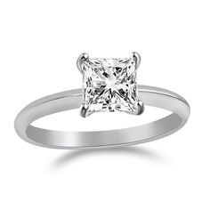 2 Ct Princess Cut Solitaire Engagement Wedding Promise Ring Solid 14K White Gold #jewelryauctionhouse #SolitaireRing