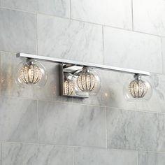 "Possini Euro Onida 23 1/4"" Wide Crystal Glass Bath Light"