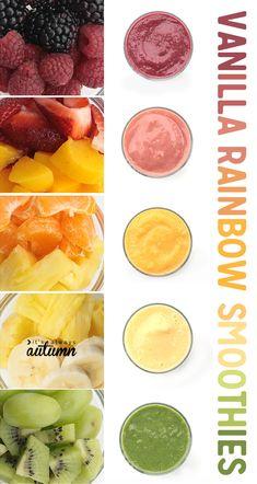 this looks delicious! vanilla rainbow fruit smoothies: just fruit and vanilla almond milk. easy! #sponsored #SilkSmoothie