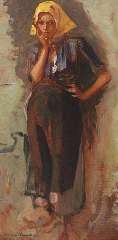 Nicolae Vermont - Basmaua galbenă Figure Painting, Monet, Vermont, Art Inspo, Supernatural, Art Gallery, Oil Paintings, Dan, Times
