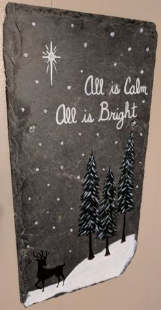 All is calm All is bright. Hand painted enamel trees with deer holiday decor. Christmas Canvas, Christmas Signs Wood, Christmas Paintings, Rustic Christmas, Christmas Art, Winter Christmas, Christmas Decorations, Christmas Projects, Holiday Crafts