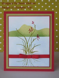 "handmade card from Stampinantics: Asian Artistry ... luv the way she created a shadow with the leaves and a landscape with ""stencil"" line ... peacefully elegant ... Stampin'Up!"