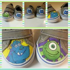 Children's Monsters Inc. Shoes by PaintMyStuff on Etsy, $30.00 Custom Painted Shoes