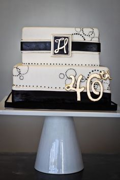 Black, white, and gold birthday cake | Sweet and Saucy Shop