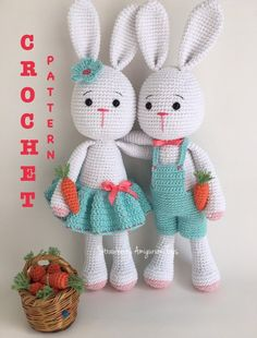Crochet Amigurumi Bunny Pattern (including Skirt, Overall, Carrot Patterns) image 0 Easter Bunny Crochet Pattern, Crochet Rabbit, Crochet Animal Patterns, Crochet Doll Pattern, Crochet Dolls, Crochet Amigurumi, Amigurumi Doll, Amigurumi Patterns, Crochet Motifs