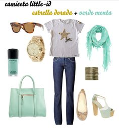 Nuestra camiseta ESTRELLA DORADA con el color de moda de esta primavera, verde menta. camiseta 24€ Little Girls, High School, Magazine, My Style, Clothes, Outfits, Fashion, Funny Fashion, Gold Stars