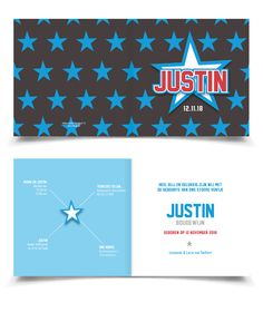 Cool boys birth announcement card stars / Stoer Geboortekaartje Jongen Sterren | Jutenjul design