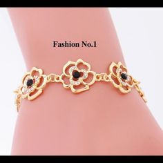 Flowers Crystal Bracelet Gold plated. Brand new and good quality. No trade. Browse my closet to see more bracelets. Follow me to see new listings. Jewelry Bracelets