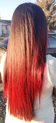 Brown hair with red tips