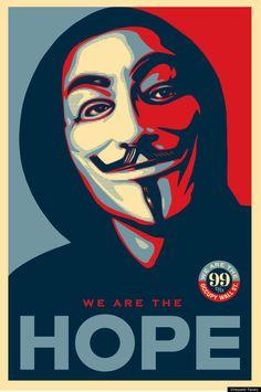 We Are The Hope - Shepard Fairey Anonymous - Occupy Wall Street Pop Art Art Print - Pop Art Memorabilia - Poster, Vibrant Color, Features Shepard Fairey. Art Obey, Obey Artist, Shepard Fairy, Shepard Fairey Obey, Pop Art, Guy Fawkes Mask, Art Du Monde, Templer, Kunst Poster