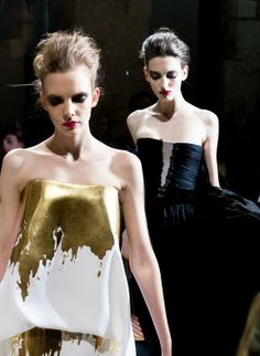 gold + white--stephane rolland.  Makes me pine for my Margiella T that my cleaner laundered incorrectly...