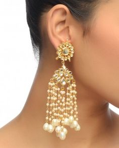Floral Kundan Earrings with Dangling Pearls