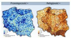 Maps of crime rates and religiosity in Poland―with partitions and pre-WWII borders! Crime Rate, Poland, Maps, Europe, Statistics, Twitter, Wwii, House, Ideas
