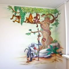 Jungle boom muurschildering