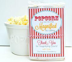 LDS Primary teacher thank you gift.  Popcorn.
