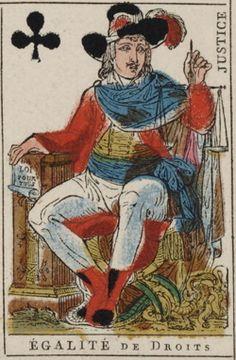 """Equality of Rights. """"Justice."""" Nouvelles cartes de la Republique française. Plus de rois de dames de valets; le génie, la liberté, l'égalité les remplacent: la loi seule est au dessus d'eux (Paris: U. Jaume et J.D. Dugourc, 1793-1794)."""