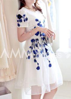 Elegant Women s Jewel Neck Short Sleeve Embroidered Organza Dress (BLUE,S) | Sammydress.com