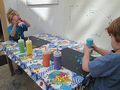 Puffy Paint- 1 c. salt  1 c. flour  1 c. water  a healthy squirt of food coloring or tempera paint.  Put in squeeze bottles for Puffy Paint Paradise